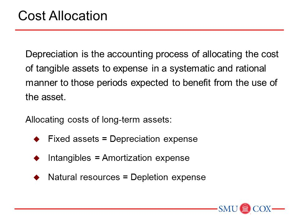 Allocating costs of long-term assets:  Fixed assets = Depreciation expense  Intangibles = Amortization expense  Natural resources = Depletion expen
