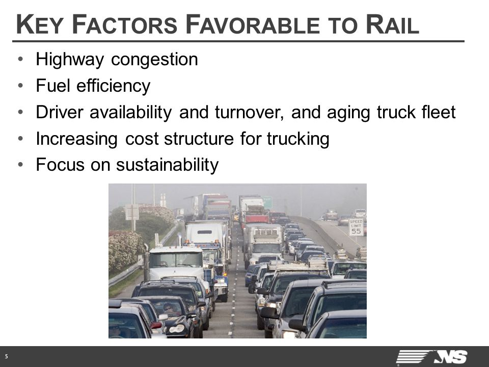 K EY F ACTORS F AVORABLE TO R AIL 5 Highway congestion Fuel efficiency Driver availability and turnover, and aging truck fleet Increasing cost structure for trucking Focus on sustainability