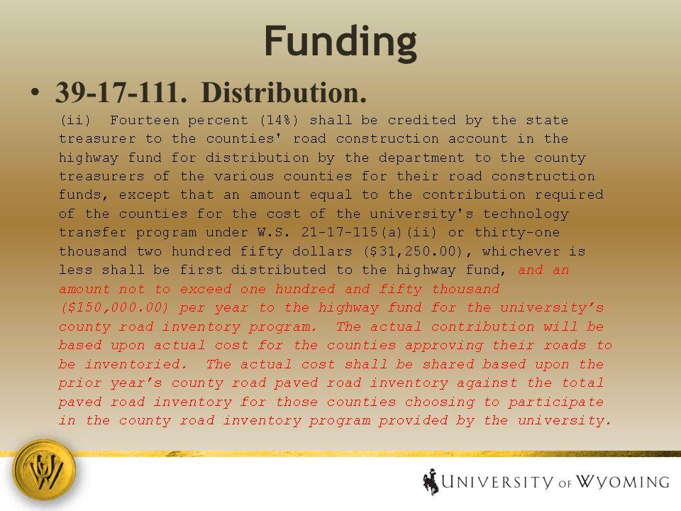Funding 39 ‑ 17 ‑ 111. Distribution.