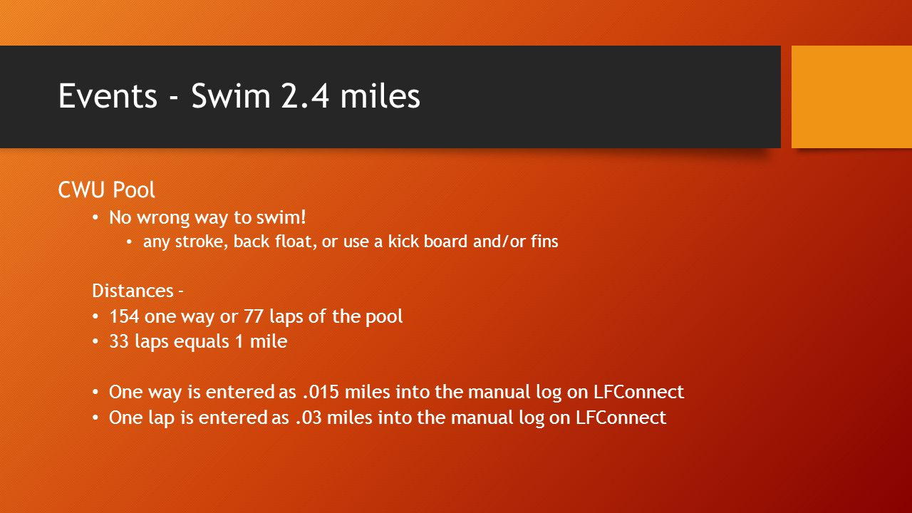Events - Swim 2.4 miles CWU Pool No wrong way to swim.