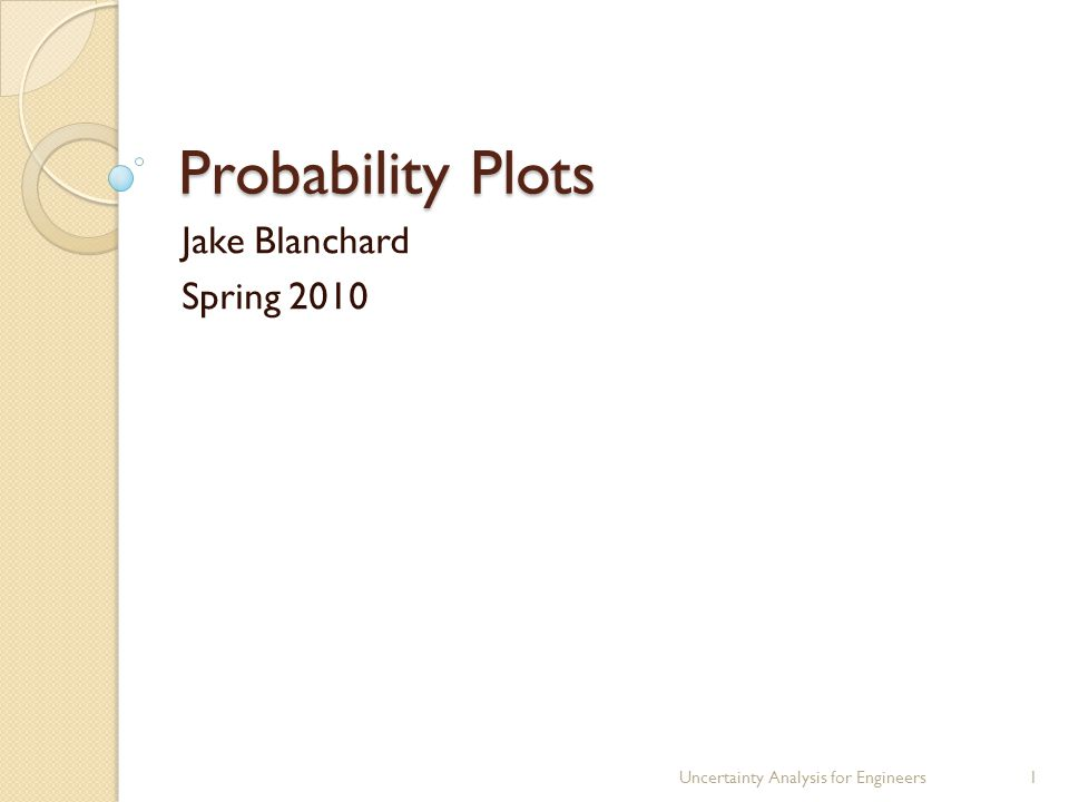 Probability Plots Jake Blanchard Spring 2010 Uncertainty Analysis for Engineers1