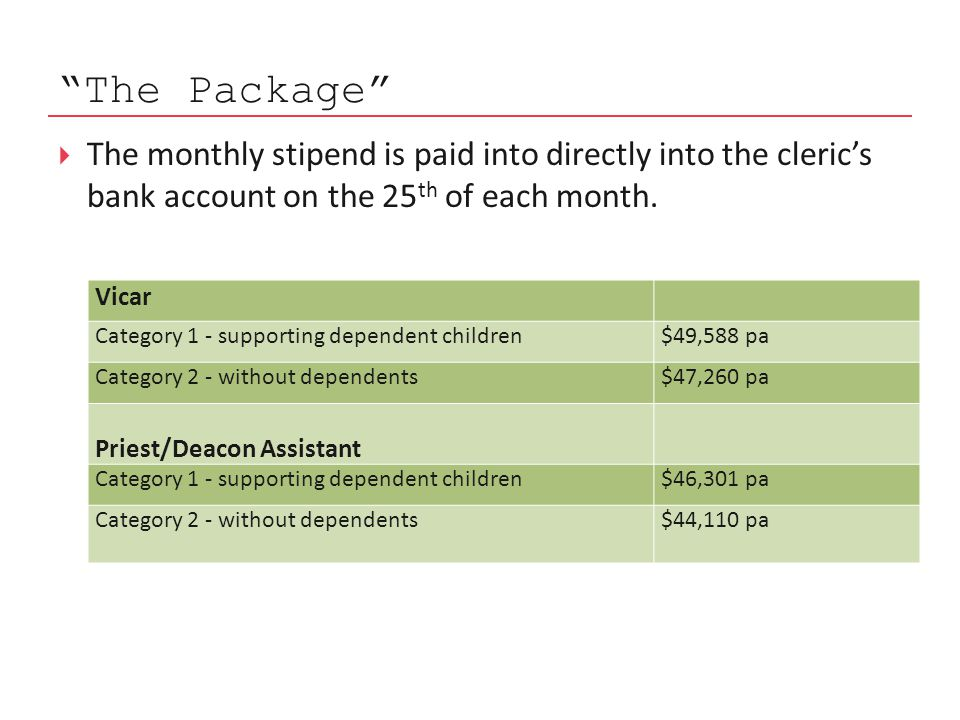 The Package  The monthly stipend is paid into directly into the cleric's bank account on the 25 th of each month.