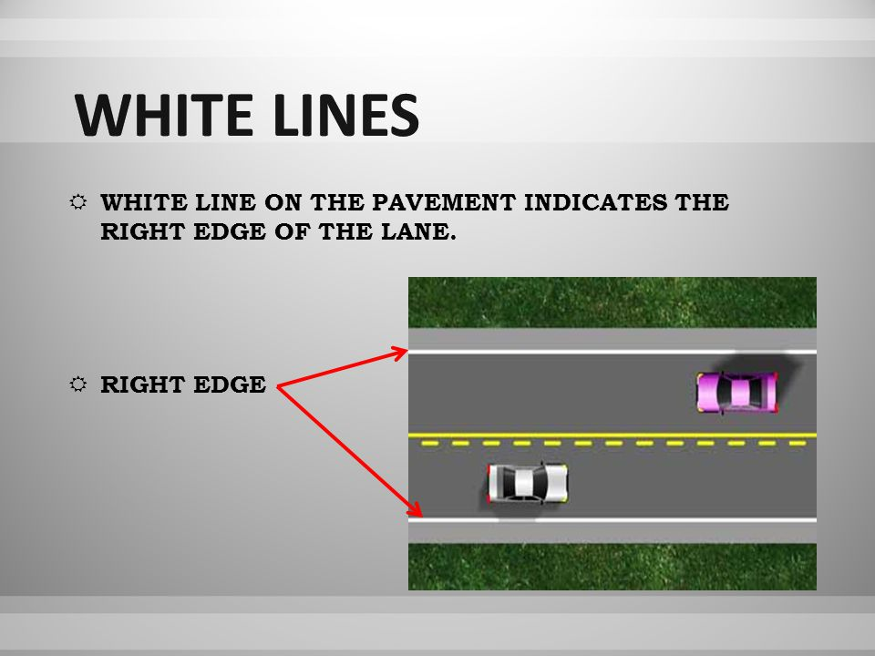 WWHITE LINE ON THE PAVEMENT INDICATES THE RIGHT EDGE OF THE LANE. RRIGHT EDGE