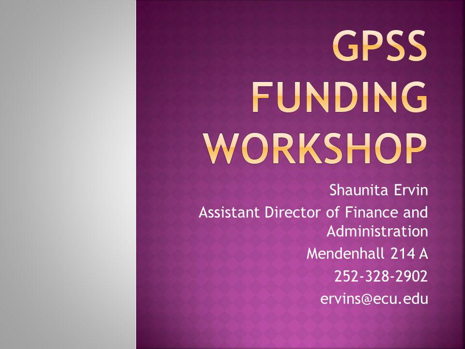 Shaunita Ervin Assistant Director of Finance and Administration Mendenhall 214 A 252-328-2902 ervins@ecu.edu