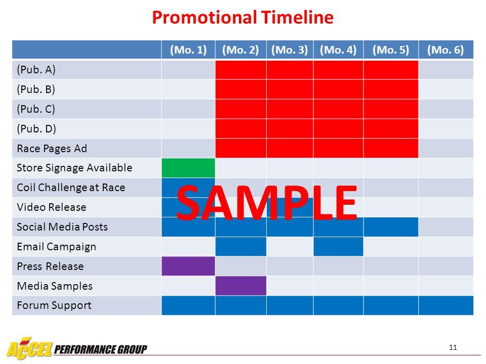11 Promotional Timeline (Mo. 1)(Mo. 2)(Mo. 3)(Mo.