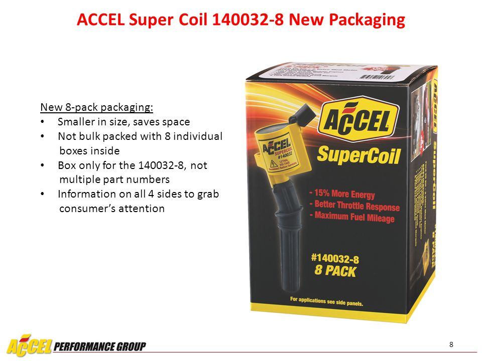 8 ACCEL Super Coil 140032-8 New Packaging New 8-pack packaging: Smaller in size, saves space Not bulk packed with 8 individual boxes inside Box only f