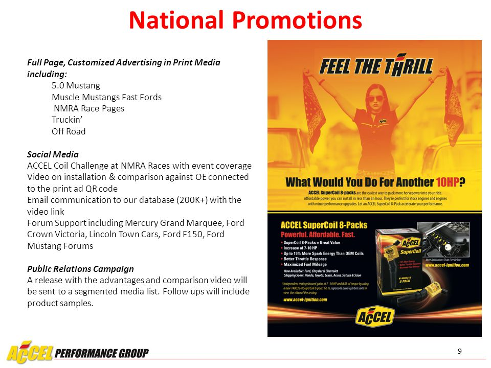 9 National Promotions Full Page, Customized Advertising in Print Media including: 5.0 Mustang Muscle Mustangs Fast Fords NMRA Race Pages Truckin' Off