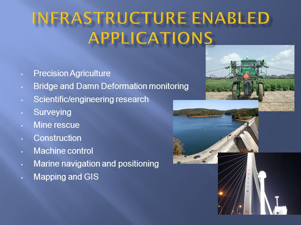 Precision Agriculture Bridge and Damn Deformation monitoring Scientific/engineering research Surveying Mine rescue Construction Machine control Marine navigation and positioning Mapping and GIS