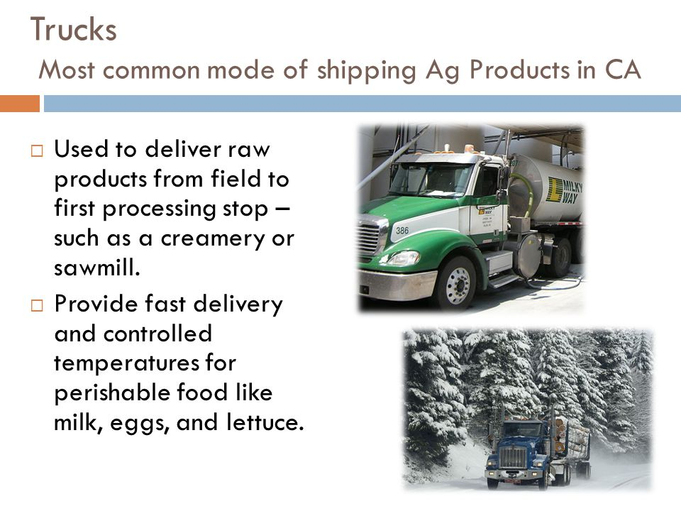Trucks Most common mode of shipping Ag Products in CA  Used to deliver raw products from field to first processing stop – such as a creamery or sawmill.