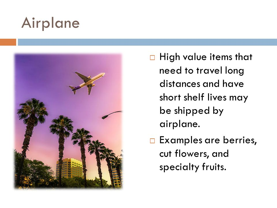Airplane  High value items that need to travel long distances and have short shelf lives may be shipped by airplane.