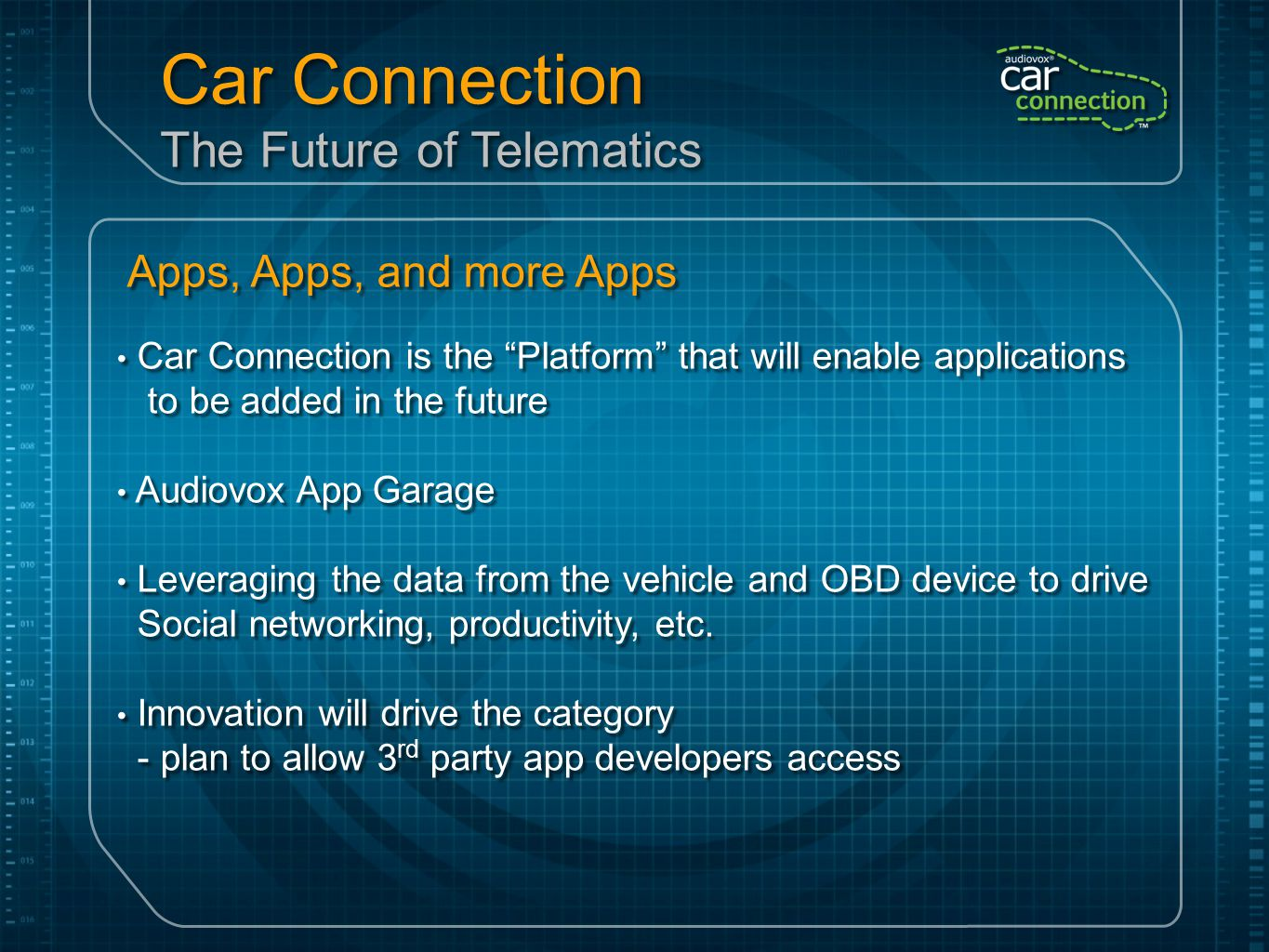 "Apps, Apps, and more Apps Car Connection is the ""Platform"" that will enable applications to be added in the future Audiovox App Garage Leveraging the"