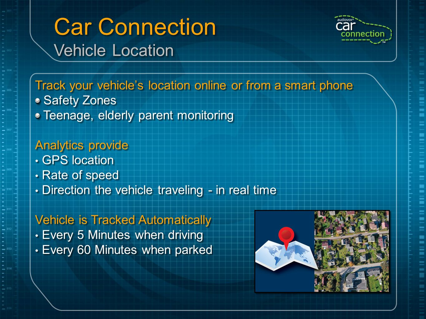 Apps, Apps, and more Apps Car Connection is the Platform that will enable applications to be added in the future Audiovox App Garage Leveraging the data from the vehicle and OBD device to drive Social networking, productivity, etc.