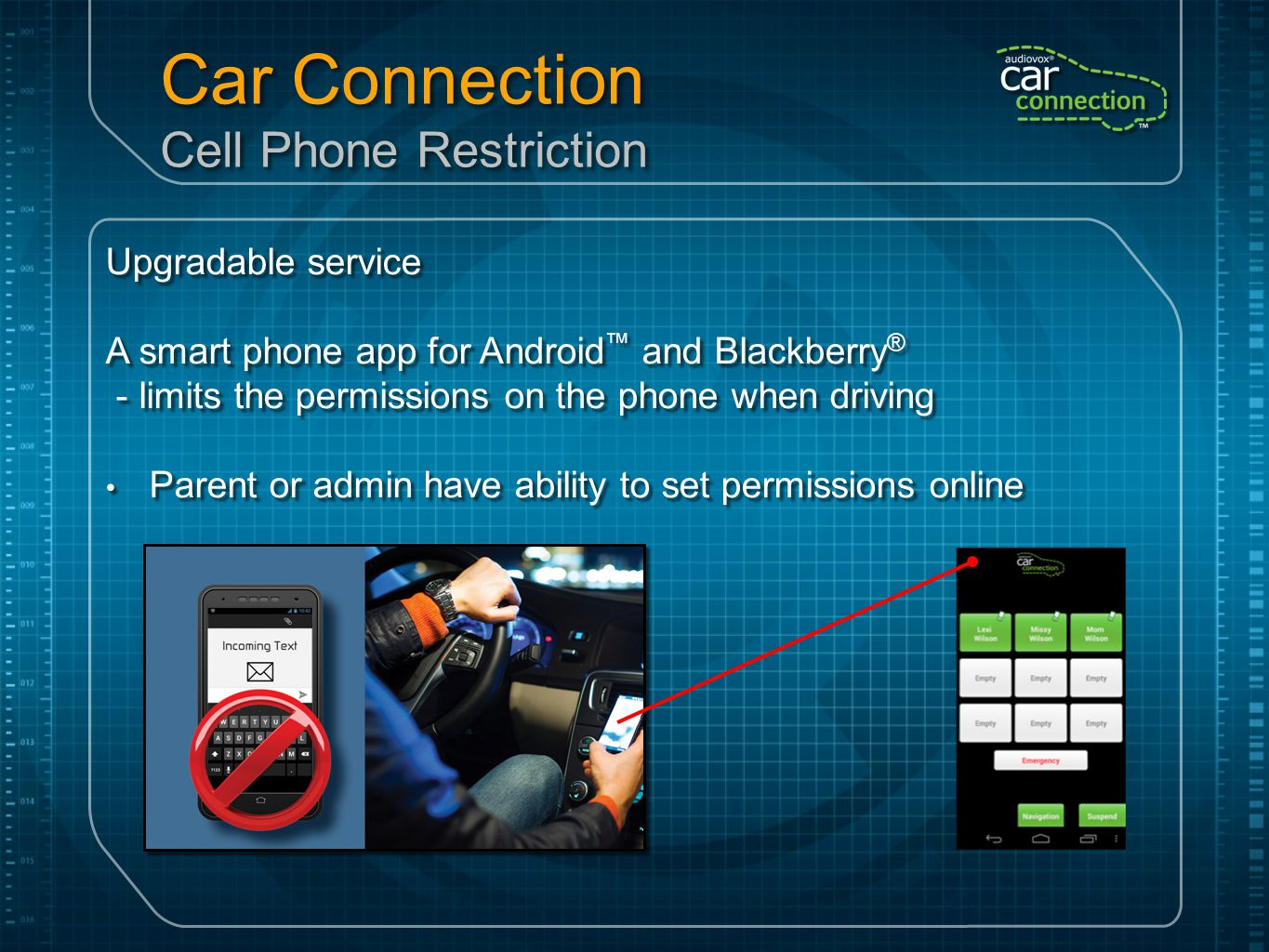 Car Connection Cell Phone Restriction Upgradable service A smart phone app for Android ™ and Blackberry ® - limits the permissions on the phone when d