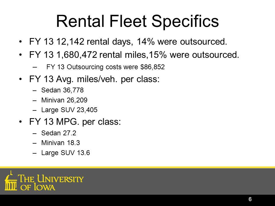 Rental Fleet Specifics FY 13 12,142 rental days, 14% were outsourced.