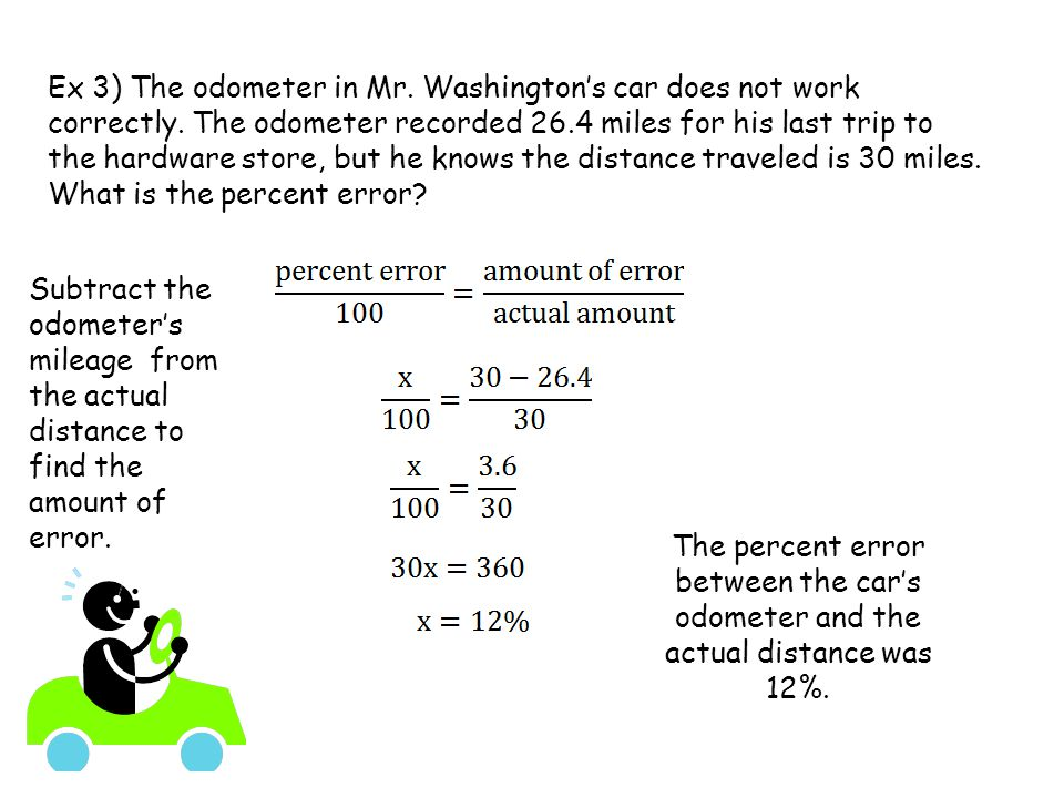 Ex 3) The odometer in Mr. Washington's car does not work correctly.