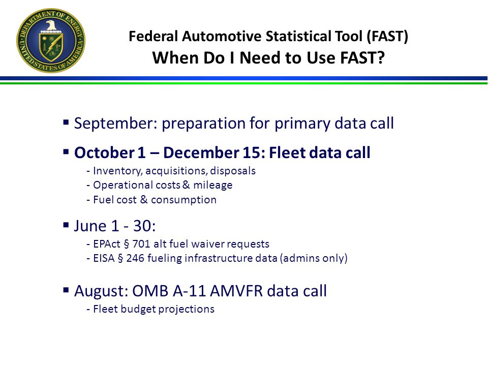 Federal Automotive Statistical Tool (FAST) When Do I Need to Use FAST.