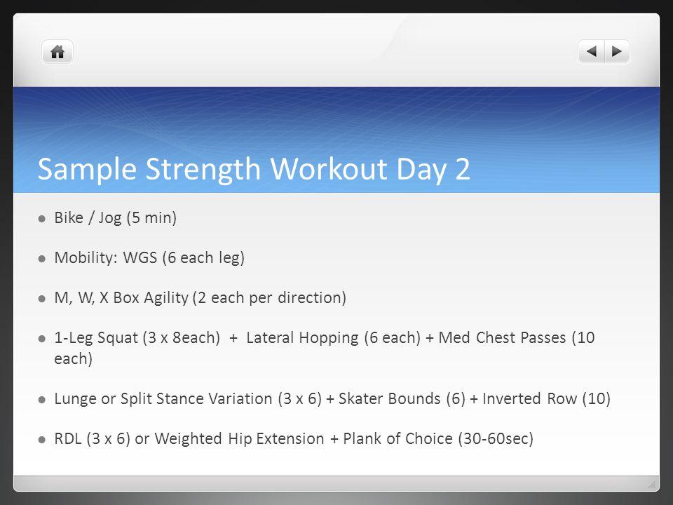 Sample Strength Workout Day 2 Bike / Jog (5 min) Mobility: WGS (6 each leg) M, W, X Box Agility (2 each per direction) 1-Leg Squat (3 x 8each) + Later