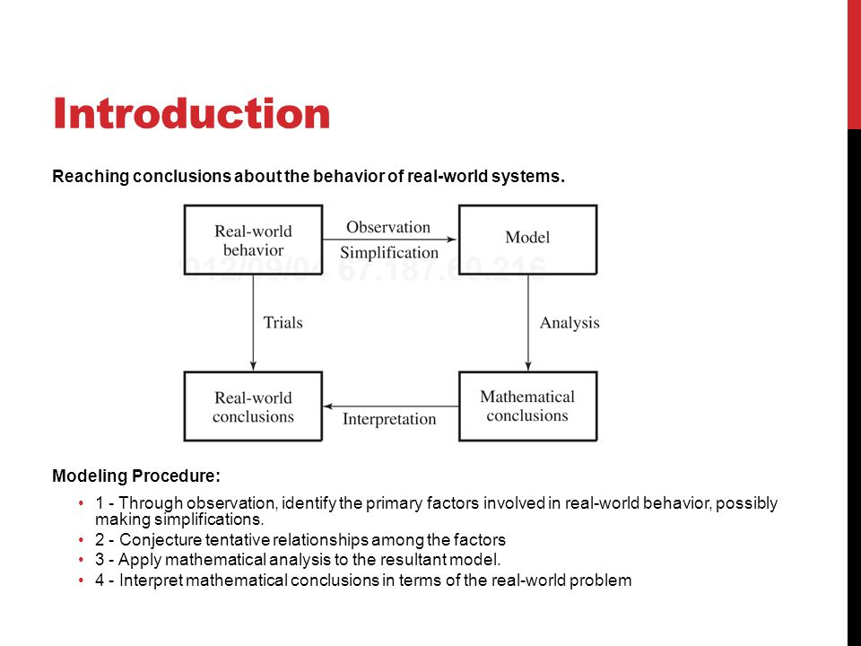 Introduction Reaching conclusions about the behavior of real-world systems. Modeling Procedure: 1 - Through observation, identify the primary factors