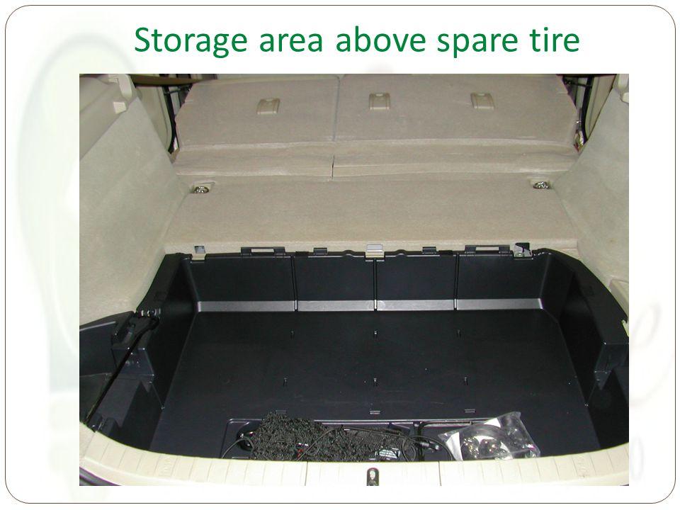 Storage area above spare tire
