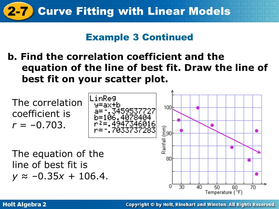 Holt Algebra 2 2-7 Curve Fitting with Linear Models o b. Find the correlation coefficient and the equation of the line of best fit. Draw the line of b