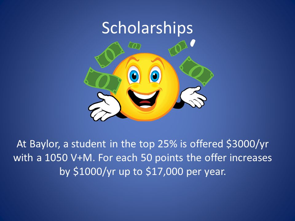 Scholarships At Baylor, a student in the top 25% is offered $3000/yr with a 1050 V+M.
