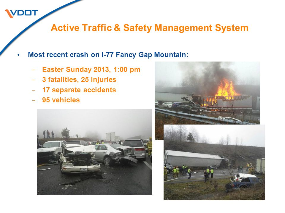 Most recent crash on I-77 Fancy Gap Mountain:  Easter Sunday 2013, 1:00 pm  3 fatalities, 25 injuries  17 separate accidents  95 vehicles Active T