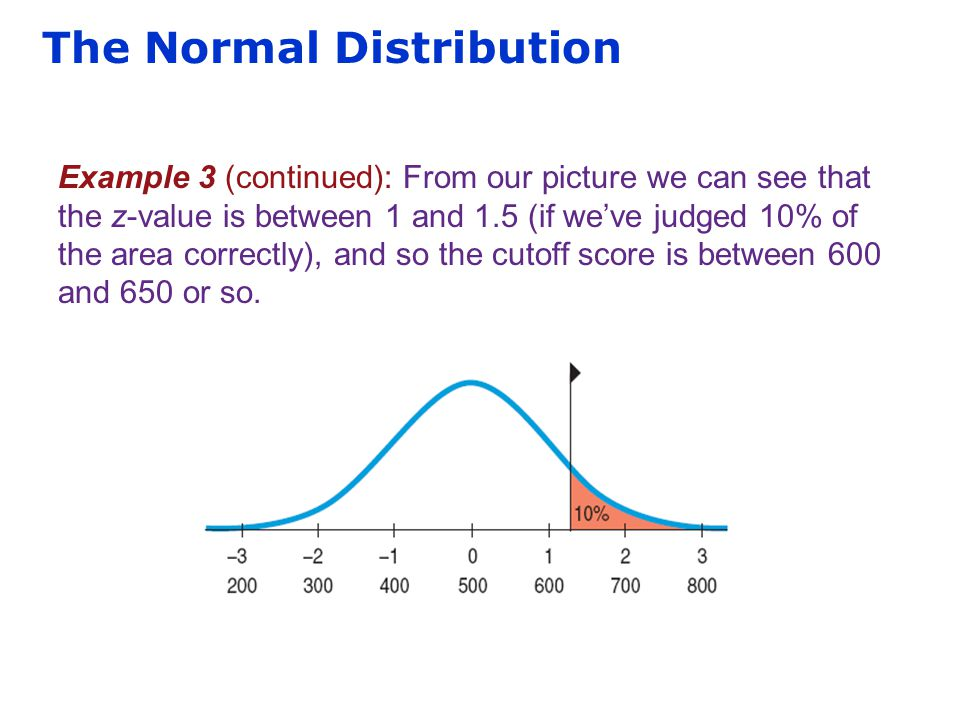 The Normal Distribution Example 3 (continued): From our picture we can see that the z-value is between 1 and 1.5 (if we've judged 10% of the area corr