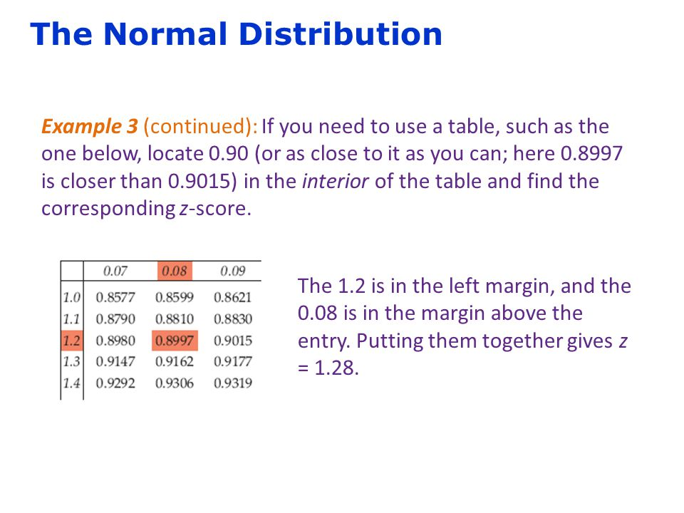 The Normal Distribution Example 3 (continued): If you need to use a table, such as the one below, locate 0.90 (or as close to it as you can; here 0.89