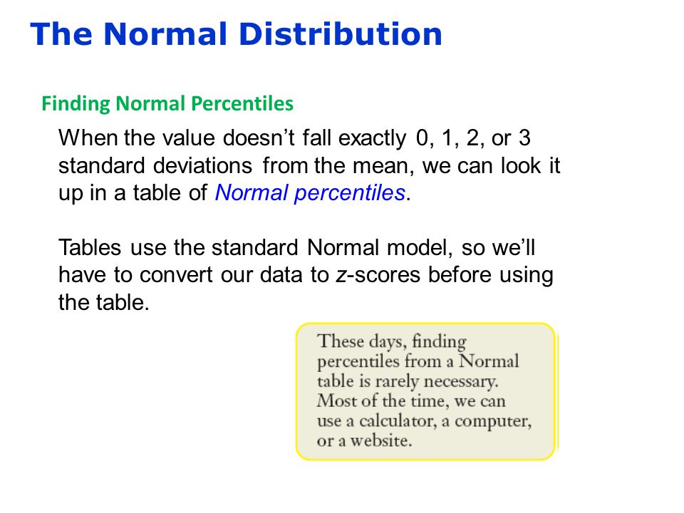 The Normal Distribution Finding Normal Percentiles When the value doesn't fall exactly 0, 1, 2, or 3 standard deviations from the mean, we can look it