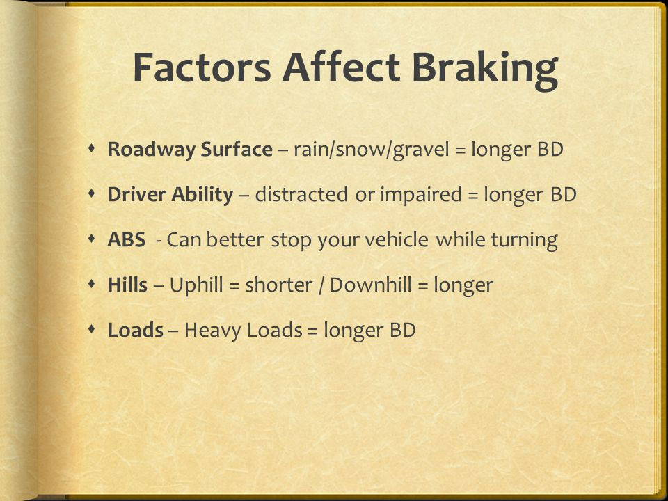 Factors Affect Braking  Roadway Surface – rain/snow/gravel = longer BD  Driver Ability – distracted or impaired = longer BD  ABS - Can better stop your vehicle while turning  Hills – Uphill = shorter / Downhill = longer  Loads – Heavy Loads = longer BD