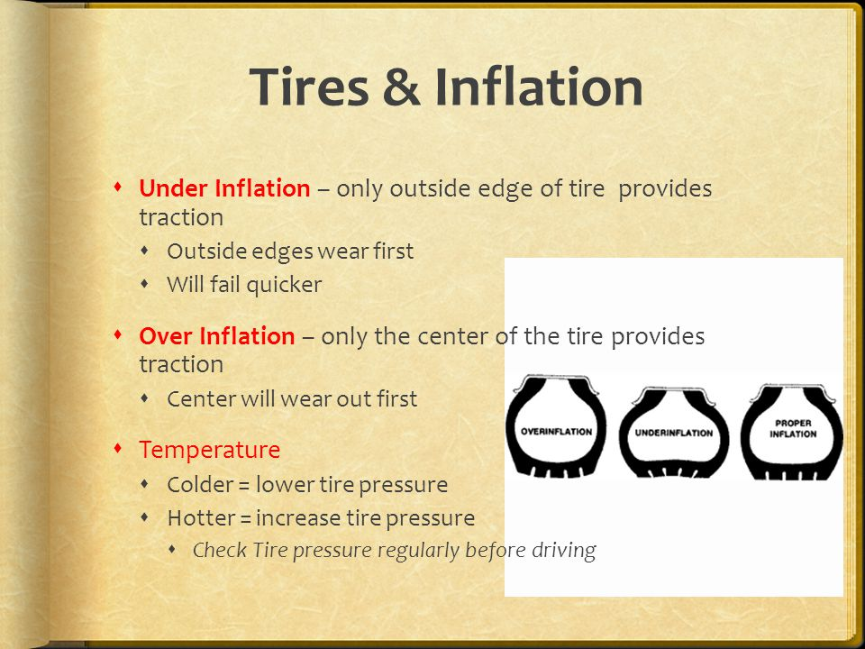 Tires & Inflation  Under Inflation – only outside edge of tire provides traction  Outside edges wear first  Will fail quicker  Over Inflation – only the center of the tire provides traction  Center will wear out first  Temperature  Colder = lower tire pressure  Hotter = increase tire pressure  Check Tire pressure regularly before driving
