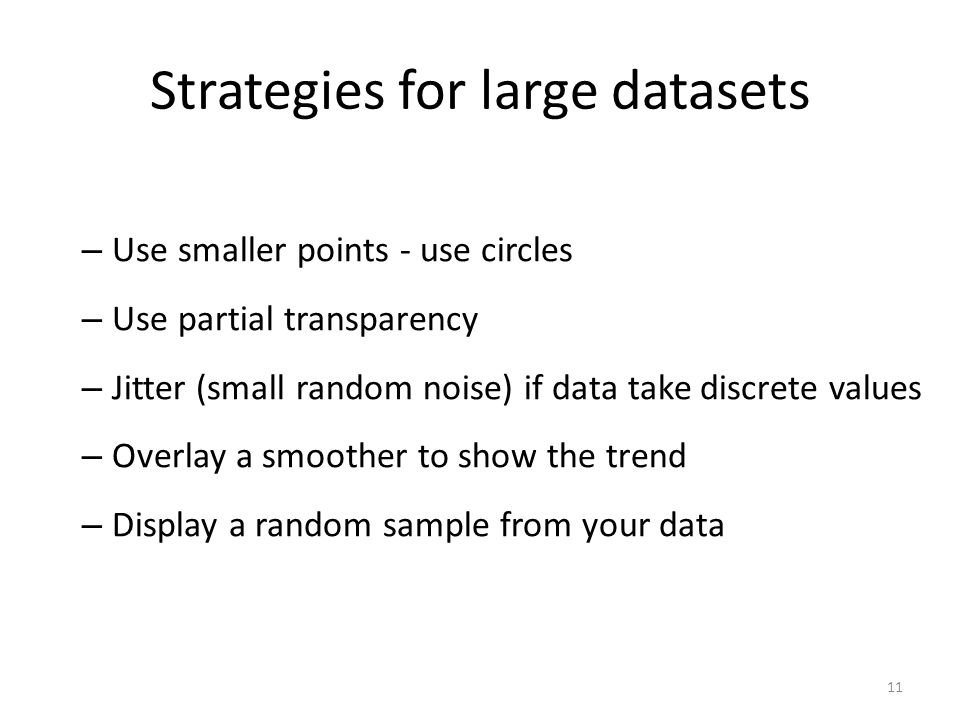 Strategies for large datasets – Use smaller points - use circles – Use partial transparency – Jitter (small random noise) if data take discrete values