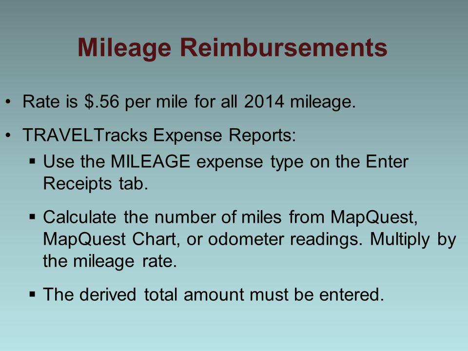 Mileage Reimbursements Rate is $.56 per mile for all 2014 mileage.