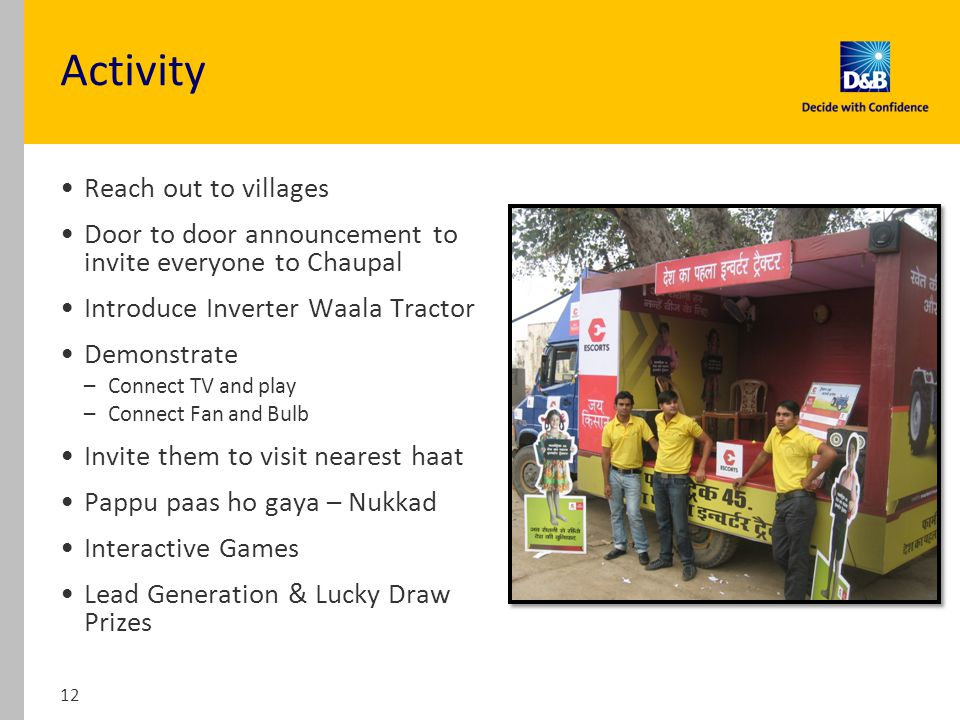 Activity Reach out to villages Door to door announcement to invite everyone to Chaupal Introduce Inverter Waala Tractor Demonstrate –Connect TV and play –Connect Fan and Bulb Invite them to visit nearest haat Pappu paas ho gaya – Nukkad Interactive Games Lead Generation & Lucky Draw Prizes 12