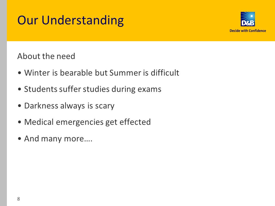 Our Understanding About the need Winter is bearable but Summer is difficult Students suffer studies during exams Darkness always is scary Medical emergencies get effected And many more….