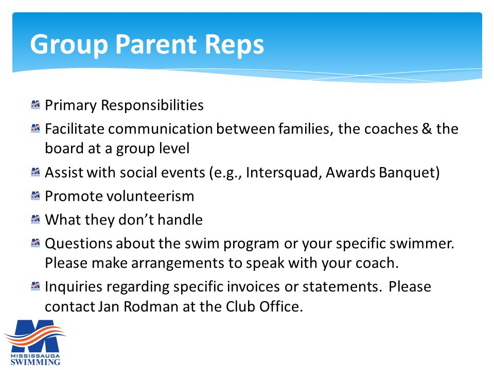 Primary Responsibilities Facilitate communication between families, the coaches & the board at a group level Assist with social events (e.g., Intersqu