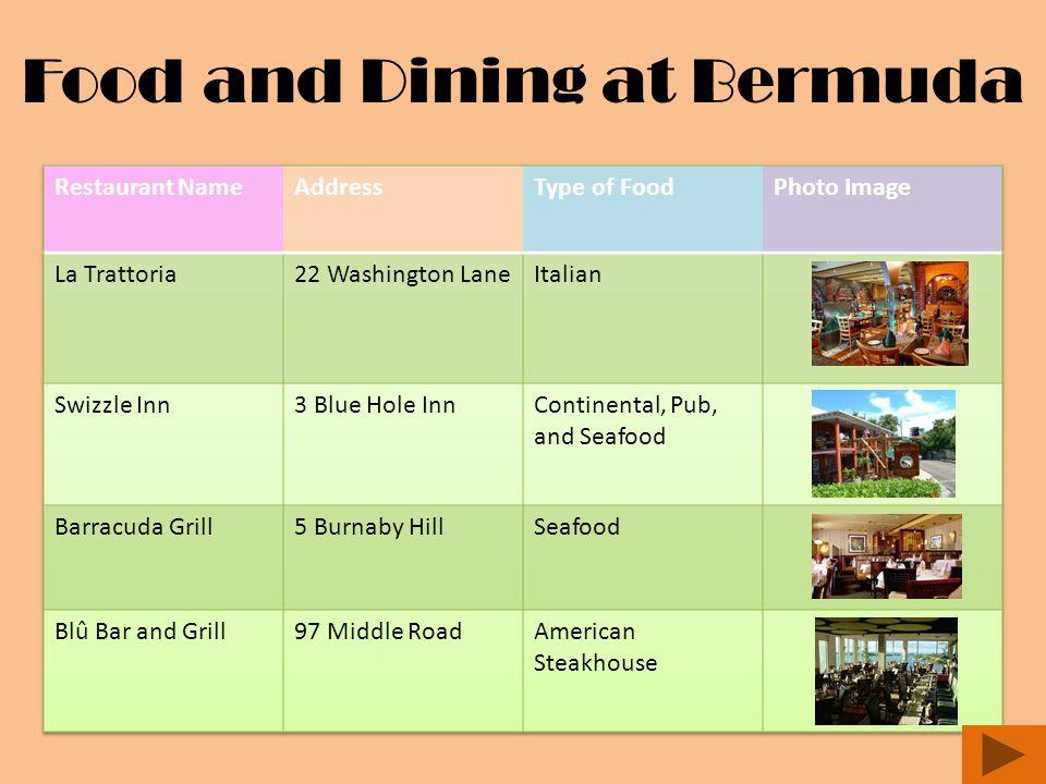 Food and Dining at Bermuda