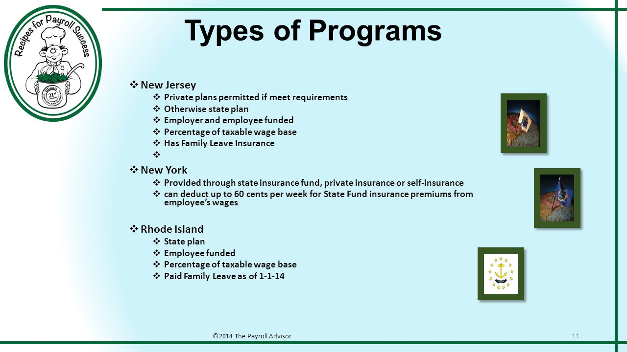 Types of Programs ©2014 The Payroll Advisor 11  New Jersey  Private plans permitted if meet requirements  Otherwise state plan  Employer and employee funded  Percentage of taxable wage base  Has Family Leave Insurance   New York  Provided through state insurance fund, private insurance or self-insurance  can deduct up to 60 cents per week for State Fund insurance premiums from employee's wages  Rhode Island  State plan  Employee funded  Percentage of taxable wage base  Paid Family Leave as of 1-1-14