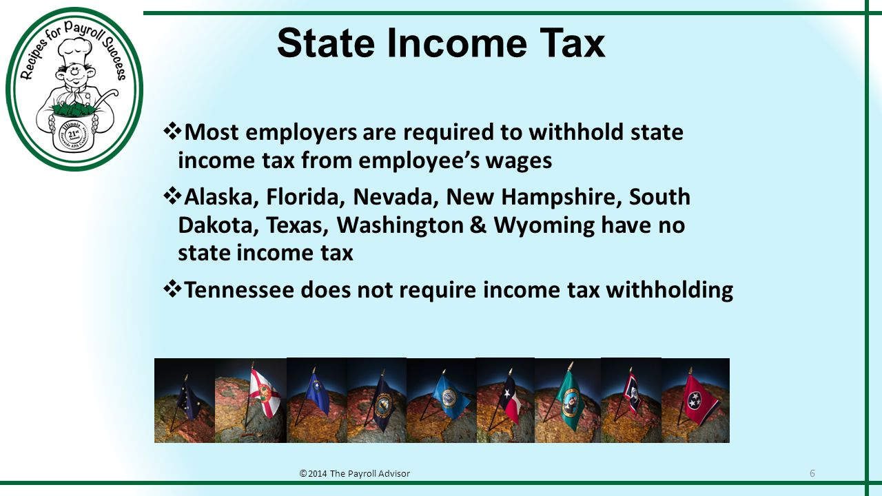 State Unemployment Insurance ©2014 The Payroll Advisor 7  State Unemployment laws are largely dictated by the Federal Unemployment Tax Act requirements  States do vary in their tax structure  States vary on taxable wage bases  Employer rates vary not only by state but by industry  Some states have employee tax