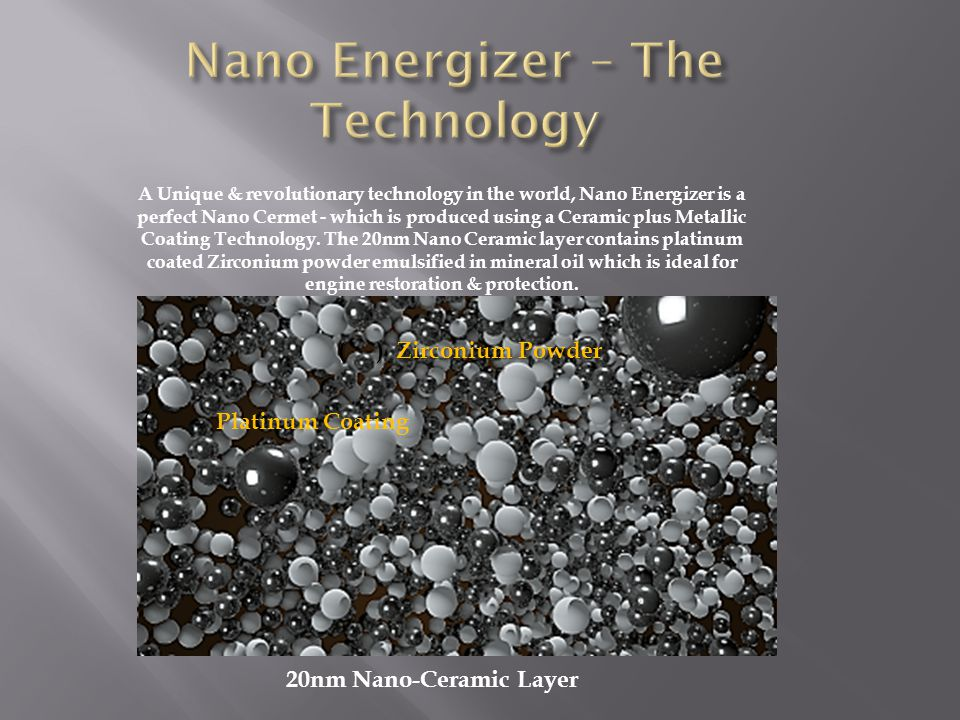 A Unique & revolutionary technology in the world, Nano Energizer is a perfect Nano Cermet - which is produced using a Ceramic plus Metallic Coating Technology.