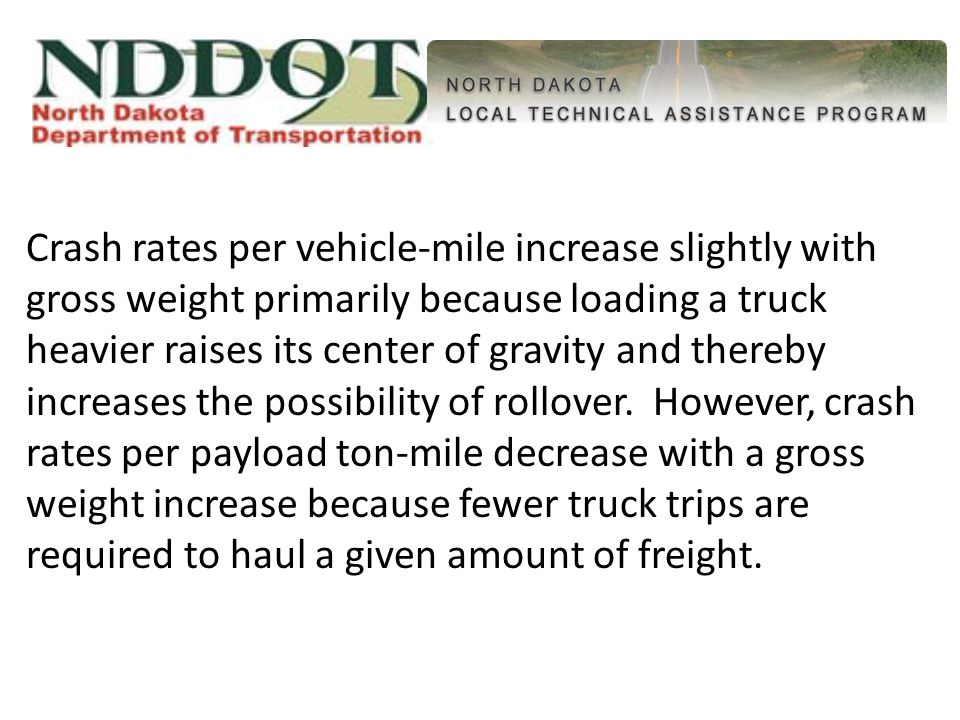 Crash rates per vehicle-mile increase slightly with gross weight primarily because loading a truck heavier raises its center of gravity and thereby increases the possibility of rollover.