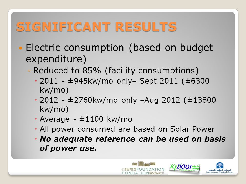 SIGNIFICANT RESULTS Electric consumption (based on budget expenditure) ◦Reduced to 85% (facility consumptions)  2011 - ±945kw/mo only– Sept 2011 (±6300 kw/mo)  2012 - ±2760kw/mo only –Aug 2012 (±13800 kw/mo)  Average - ±1100 kw/mo  All power consumed are based on Solar Power  No adequate reference can be used on basis of power use.