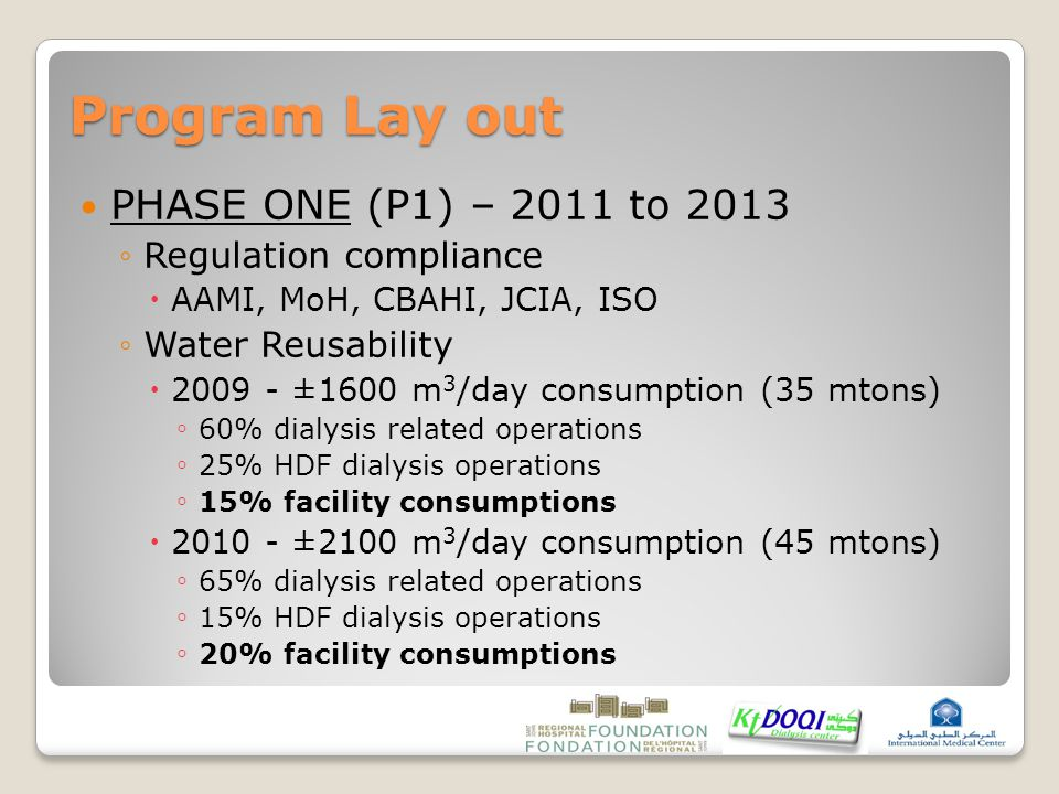 Program Lay out PHASE ONE (P1) – 2011 to 2013 ◦Regulation compliance  AAMI, MoH, CBAHI, JCIA, ISO ◦Water Reusability  2009 - ±1600 m 3 /day consumption (35 mtons) ◦ 60% dialysis related operations ◦ 25% HDF dialysis operations ◦ 15% facility consumptions  2010 - ±2100 m 3 /day consumption (45 mtons) ◦ 65% dialysis related operations ◦ 15% HDF dialysis operations ◦ 20% facility consumptions