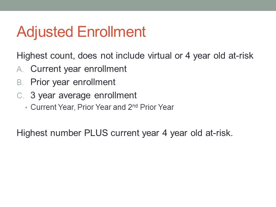 Adjusted Enrollment Highest count, does not include virtual or 4 year old at-risk A.