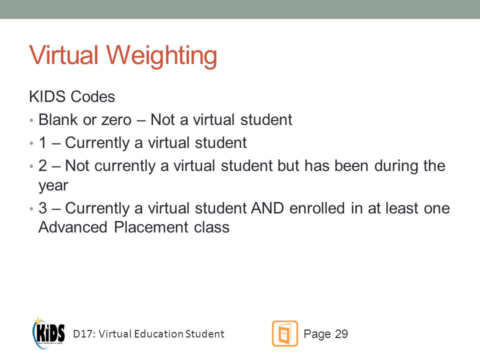 Virtual Weighting KIDS Codes Blank or zero – Not a virtual student 1 – Currently a virtual student 2 – Not currently a virtual student but has been during the year 3 – Currently a virtual student AND enrolled in at least one Advanced Placement class D17: Virtual Education Student Page 29