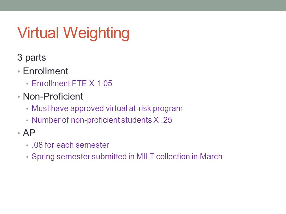 Virtual Weighting 3 parts Enrollment Enrollment FTE X 1.05 Non-Proficient Must have approved virtual at-risk program Number of non-proficient students X.25 AP.08 for each semester Spring semester submitted in MILT collection in March.