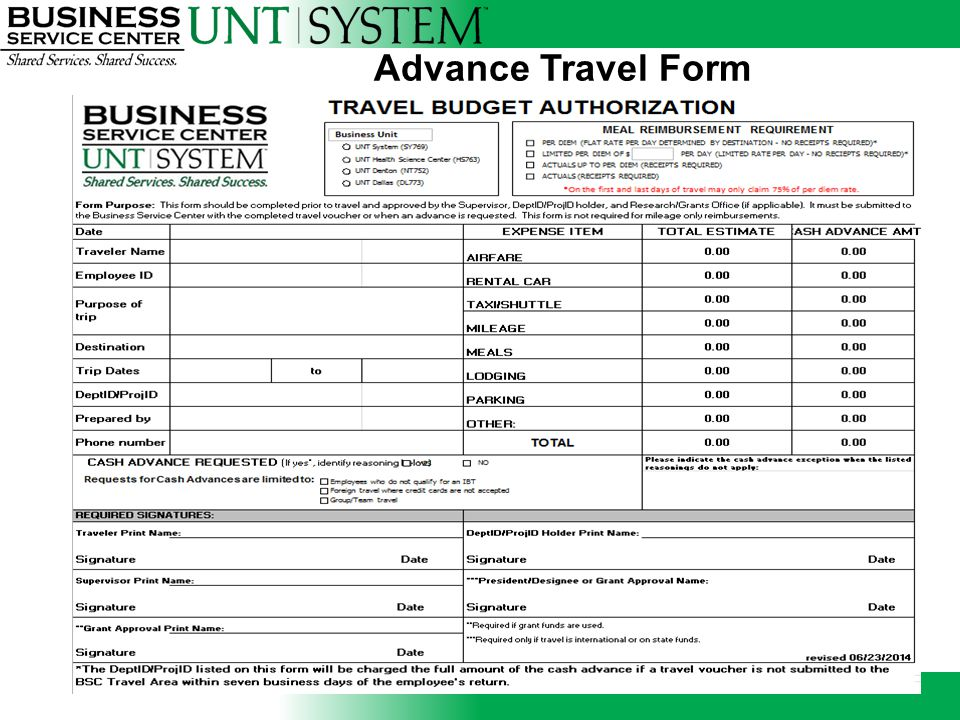 Advance Travel Form
