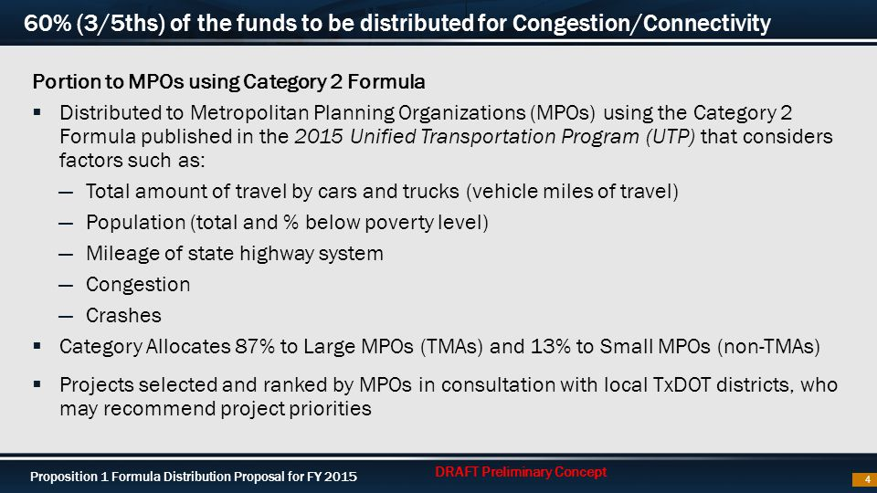 Proposition 1 Formula Distribution Proposal for FY 2015 60% (3/5ths) of the funds to be distributed for Congestion/Connectivity Portion to MPOs using Category 2 Formula  Distributed to Metropolitan Planning Organizations (MPOs) using the Category 2 Formula published in the 2015 Unified Transportation Program (UTP) that considers factors such as: ―Total amount of travel by cars and trucks (vehicle miles of travel) ―Population (total and % below poverty level) ―Mileage of state highway system ―Congestion ―Crashes  Category Allocates 87% to Large MPOs (TMAs) and 13% to Small MPOs (non-TMAs)  Projects selected and ranked by MPOs in consultation with local TxDOT districts, who may recommend project priorities 4 DRAFT Preliminary Concept