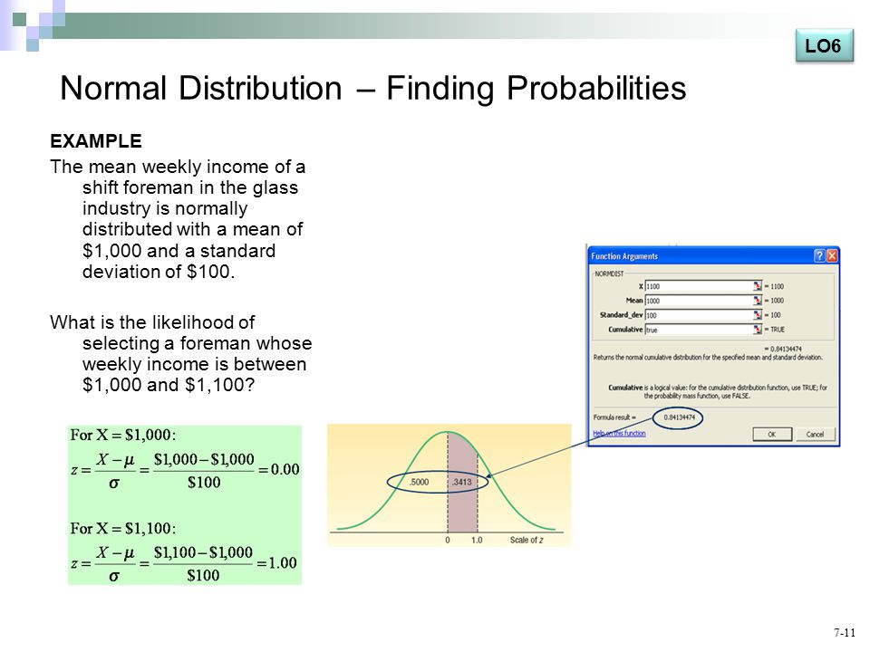Normal Distribution – Finding Probabilities EXAMPLE The mean weekly income of a shift foreman in the glass industry is normally distributed with a mean of $1,000 and a standard deviation of $100.