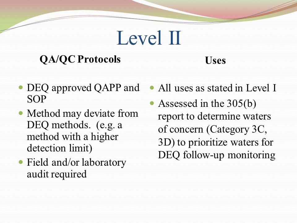 Level II QA/QC Protocols DEQ approved QAPP and SOP Method may deviate from DEQ methods.